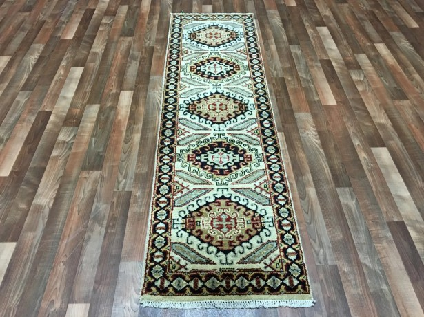 One-of-a-Kind Exmore Hand-Woven Wool Beige/Brown Area Rug