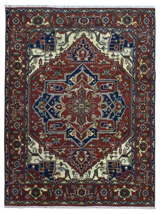One-of-a-Kind Vancheri Serapi Oriental Hand-Woven Wool Red/Navy Area Rug