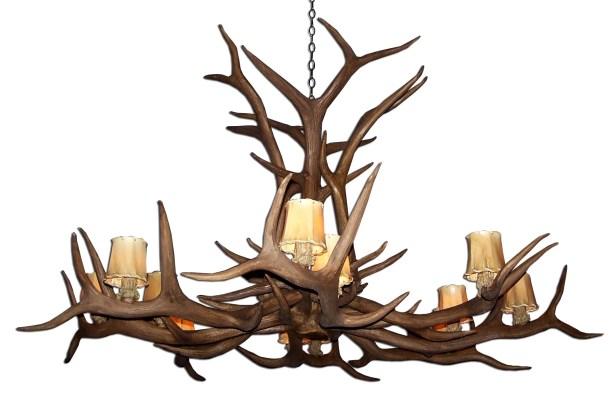 Attwood Antler Elk Single Tier 12-Light We have associated to option Chandelier Shade Color: No, Finish: Rustic Bronze/Brown