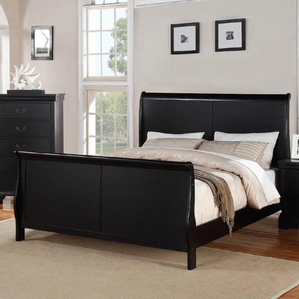 Bois Sleigh Bed Color: Black, Size: King