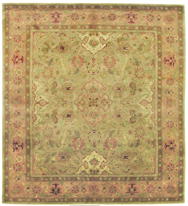Polonaise Hand Knotted Wool Beige/Pink Area Rug Rug Size: Rectangle 8' x 10'