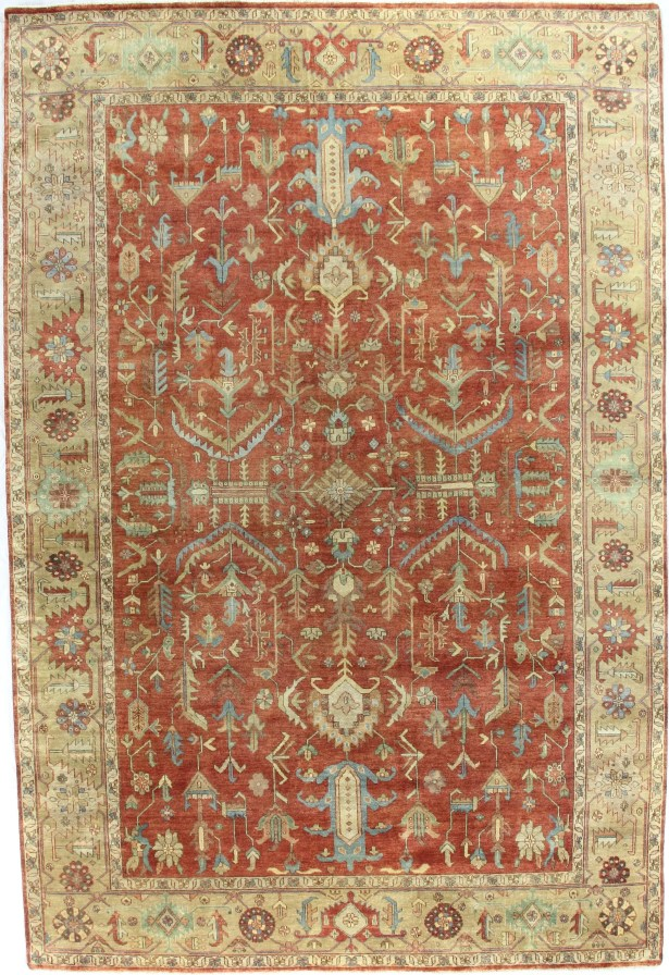 Serapi Hand-Knotted Wool Red/Gold Area Rug Rug Size: Rectangle 14' x 18'