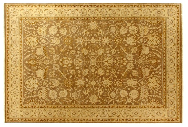 Ziegler Hand-Knotted Wool Gold Area Rug Rug Size: Rectangle 10' x 14'