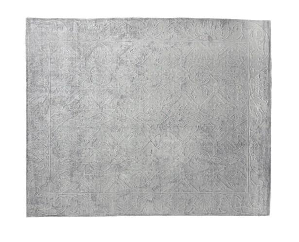 Iris Hand Woven Silk Light Silver Area Rug Rug Size: Rectangle 14' x 18'