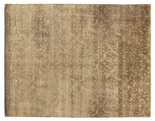 Hand-Knotted Wool/Silk Beige Area Rug Rug Size: Rectangle 6' x 9'
