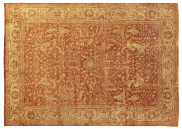 Oushak Hand-Knotted Wool Red/Ivory Area Rug Rug Size: Rectangle 8' x 10'