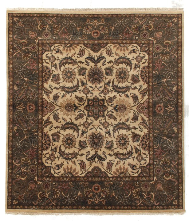 Traditional Hand Woven Wool Ivory/Sage Area Rug Rug Size: Rectangle 8' x 10'