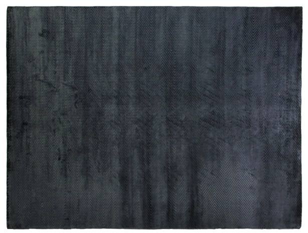 Herringbone Hand-Woven Silk Navy Area Rug