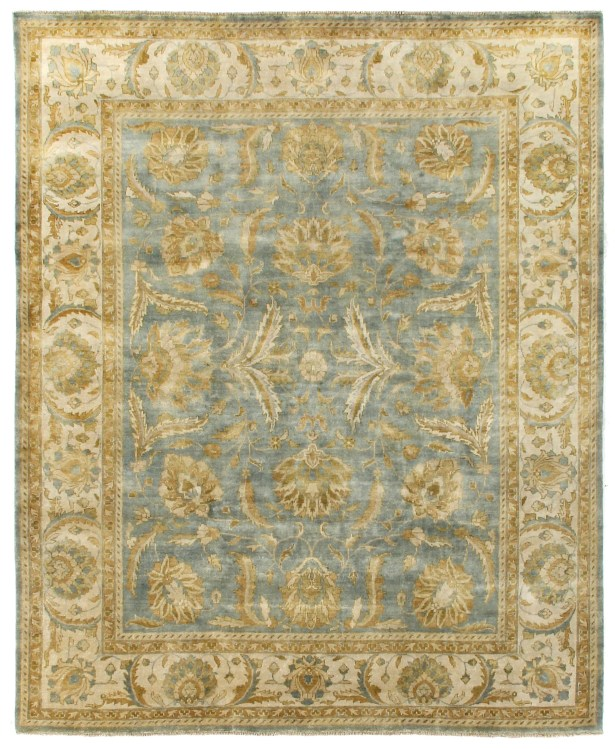 Oushak Hand-Knotted Wool Beige/Blue Area Rug Rug Size: Rectangle 14' x 18'