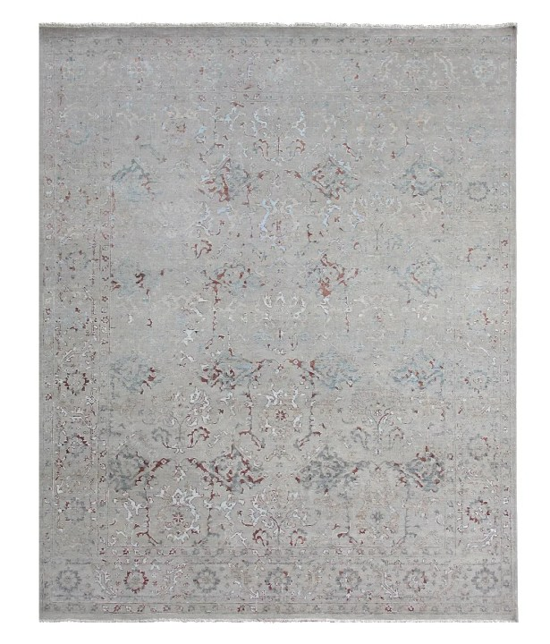 Beverly Hand-Knotted Ivory Area Rug Rug Size: Rectangle 10' x 14'