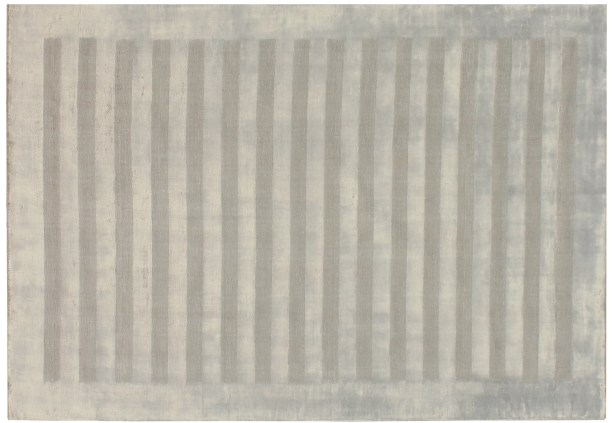 Wide Stripe Panel Hand-Woven Silver Area Rug Rug Size: 8' x 10'