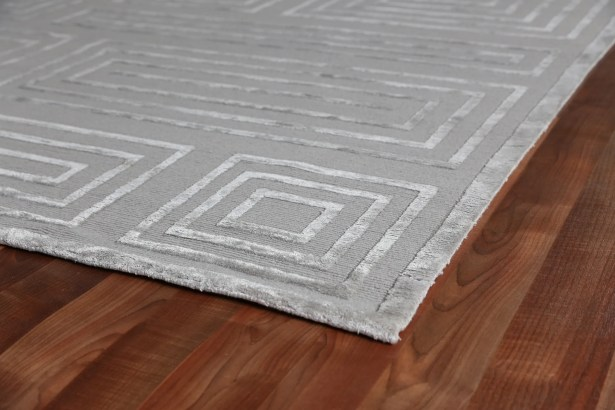 Hand-Knotted Wool Silver Area Rug