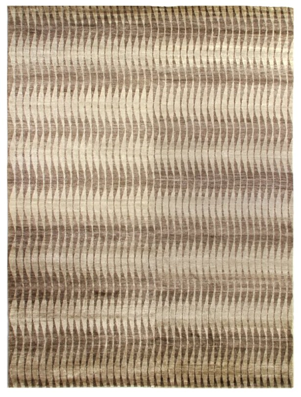 Hand-Knotted Beige/Brown Area Rug Rug Size: Rectangle 9' x 12'