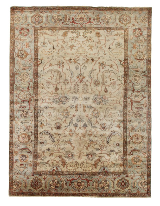 Serapi Hand-Knotted Wool Ivory/Light Blue Area Rug Rug Size: Rectangle 14' x 18'