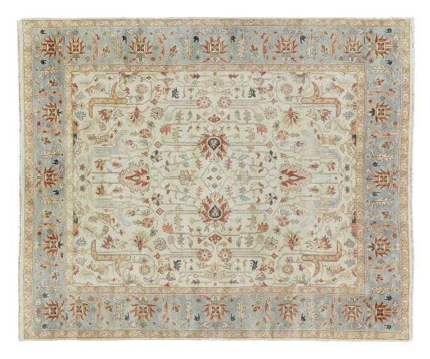Serapi Hand-Knotted Wool Ivory/Light Blue Area Rug Rug Size: Rectangle 6' x 9'