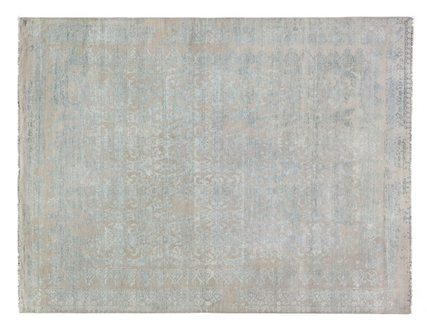 Lexington Hand-Knotted Silver/Aqua Area Rug Rug Size: Rectangle 8' x 10'
