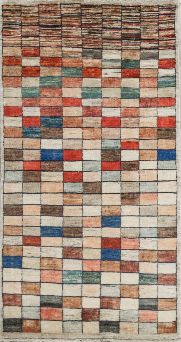 One-of-a-Kind Afghan Squares Gabbeh Hand-Knotted Wool Beige Area Rug