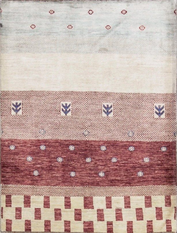 One-of-a-Kind Gabbeh Hand-Knotted Wool Natural Area Rug