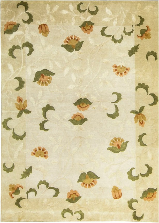 Indian Hand-Knotted Wool Ivory/Cream Area Rug
