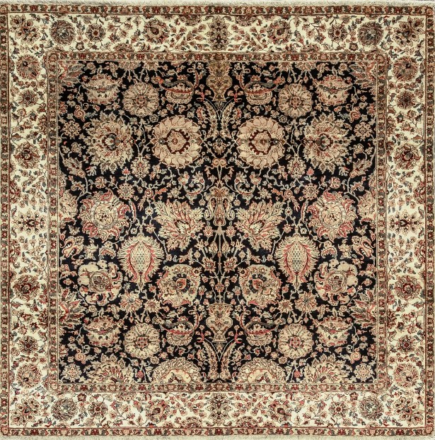 One-of-a-Kind Hand-Knotted Wool Black/Beige Indoor Area Rug