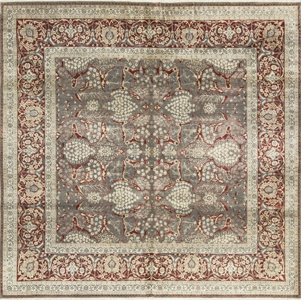 One-of-a-Kind Hand-Knotted Wool Gray/Rust Indoor Area Rug