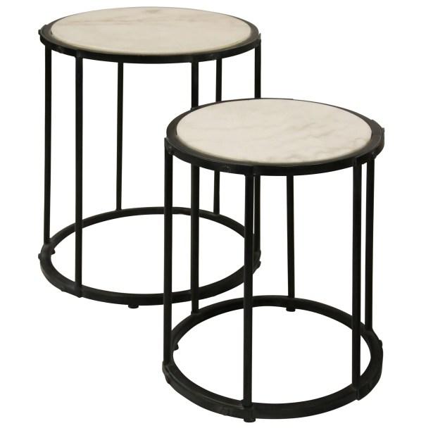 Meribah Marble Top 2 Piece Nesting Tables