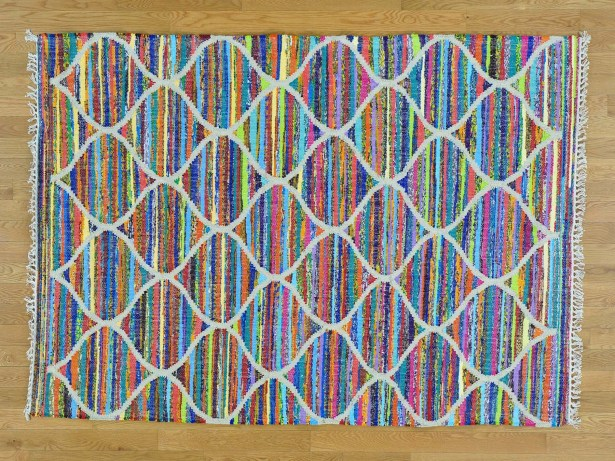 One-of-a-Kind Dyess Hand-Woven Silk Blue/Pink Area Rug