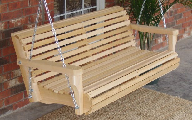 Himes Contoured Classic Cedar Porch Swing Finish: Natural/Stainless Steel , Size: 22
