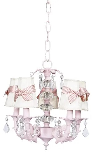 Stacked 5-Light Shaded Chandelier Shade Color: Ivory with Pink Checked Sash