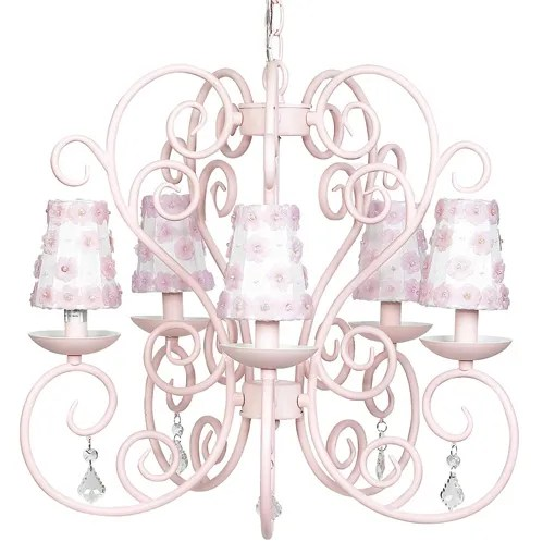 Carriage 5-Light Shaded Chandelier Finish: White, Shade: Petal Flower Pink