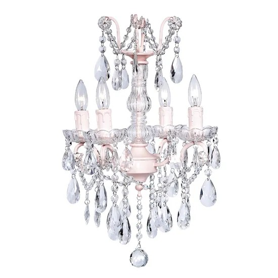 Glass Center 4-Light Candle Style Chandelier Base Color: Pink
