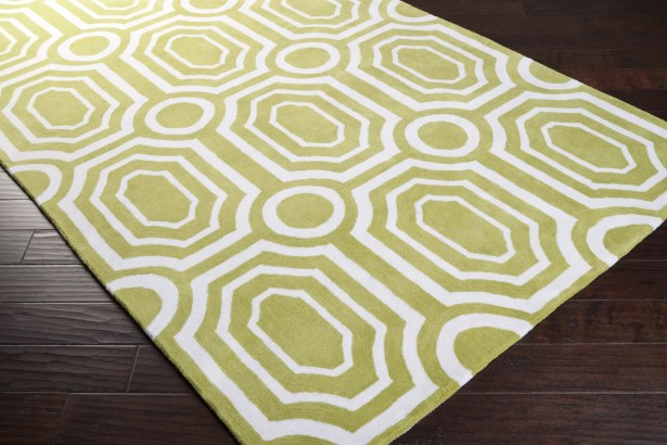 Hudson Park Hand-Tufted Green/White Area Rug Rug Size: Rectangle 8' x 10'