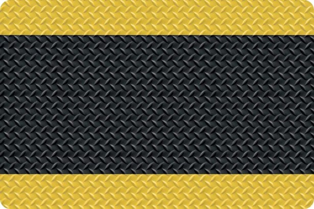 Diamond Foot Anti-Fatigue Shoe Mat Color: Black with Yellow Border, Mat Size: Rectangle 3' x 5'