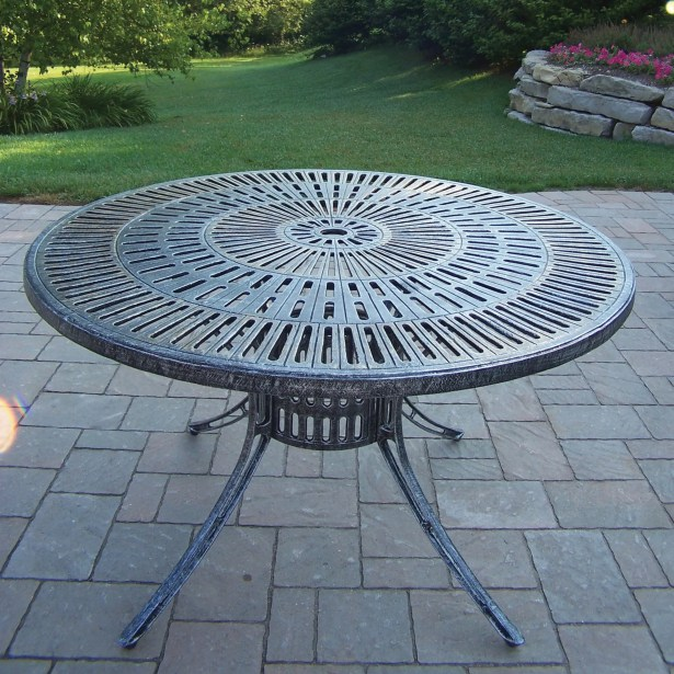 Sunray Aluminum Dining Table Color: Antique Pewter