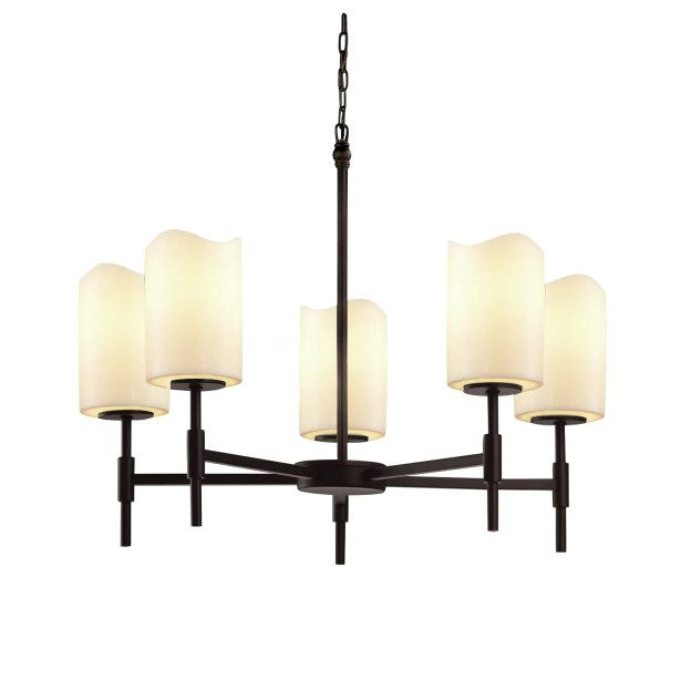 Wantage 5-Light Shaded Chandelier Shade Color: Amber, Finish: Matte Black