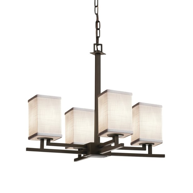 Red Hook 4 Light LED Square w/ Flat Rim Chain Chandelier Finish: Polished Chrome, Shade Color: White