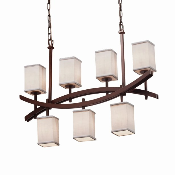 Red Hook Archway 7 Light Square w/ Flat Rim Chandelier Shade Color: White, Finish: Brushed Nickel