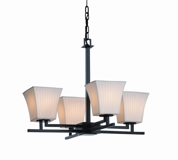 Biston 4 Light Chandelier Shade Option: Cylinder with Flat Rim, Metal Finish: Matte Black