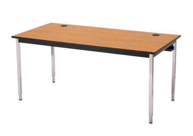 1500 Series Computer Table with Cable Management Tabletop Finish: Gray Nebula, Base Finish: Chrome, Size: 48