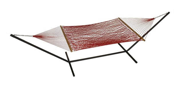 Mindi Solid Polyester Hammock with Stand Color: Cranberry