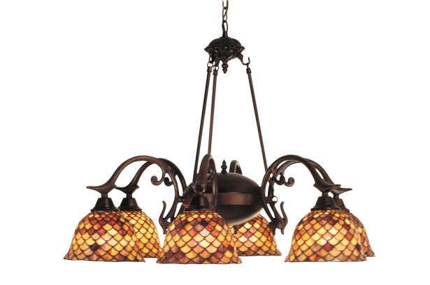 Tiffany Fishscale 6-Light Shaded Chandelier