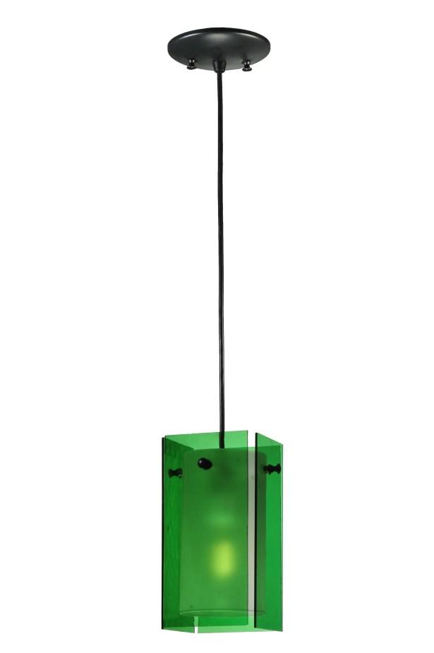 Metro Quadrato 1-Light Square/Rectangle Pendant Shade Color: Green