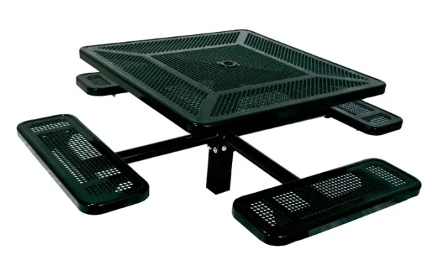 Single Pedestal Inground Square Picnic Table with Perforated Pattern Finish: Black/Black