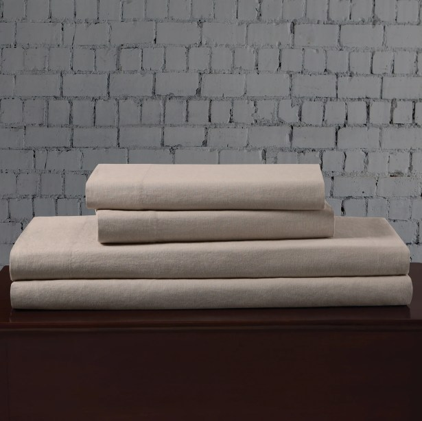 Linen Blend Sheet Set Size: King, Color: Khaki