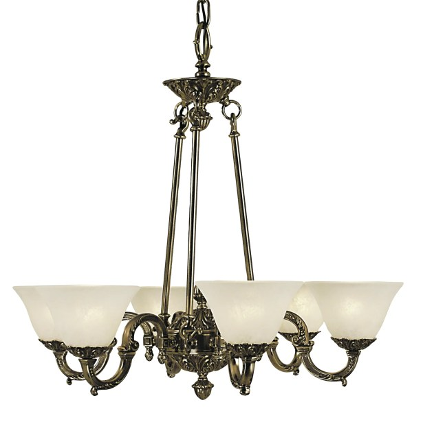 Napoleonic 6-Light Shaded Chandelier Shade Color: Champagne, Color: Mahogany Bronze