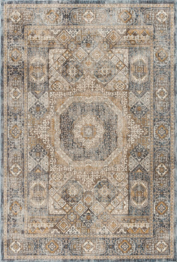 Matteson Traditional Oriental Navy/Beige Area Rug Rug Size: 7'10'' x 10'3''