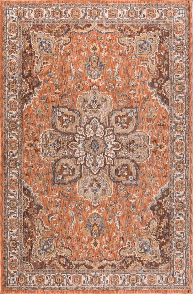Matteson Traditional Orange/Brown Area Rug Rug Size: 6'7'' x 9'6''
