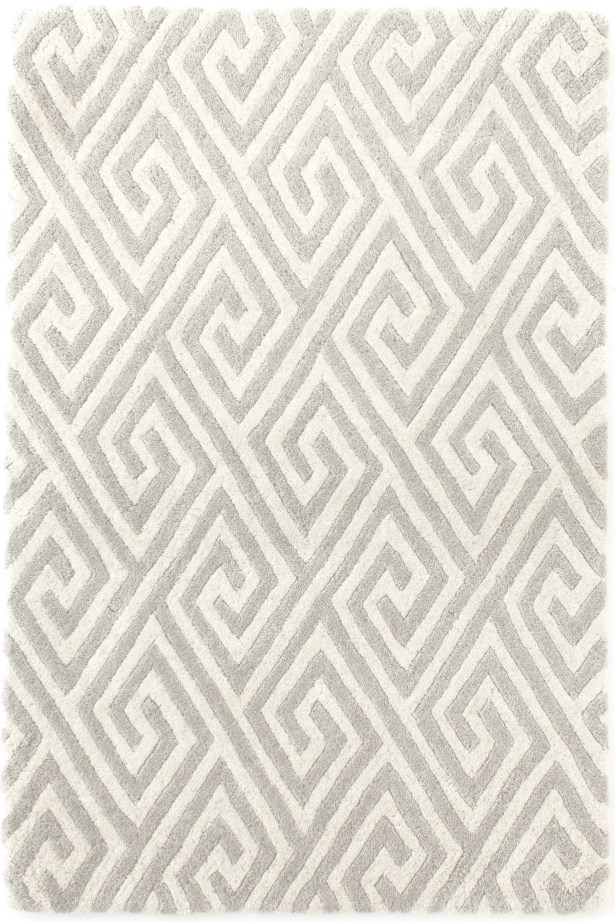 Fretwork Tufted Grey Area Rug Rug Size: Rectangle 5' x 8'