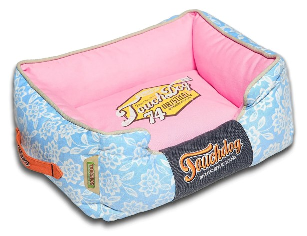 Rose-Pedal Patterned Premium Rectangular Dog Bed Size: Medium (21.7