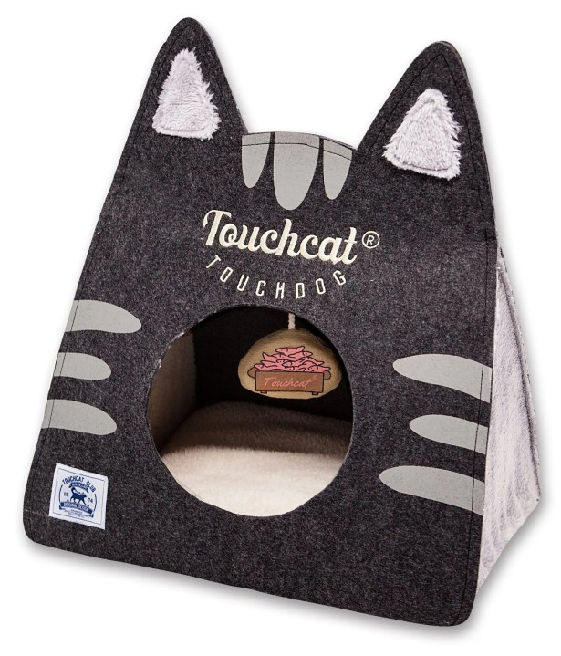 Touchcat 'Kitty Ears' Travel On-The-Go Collapsible Folding Cat Pet Bed House With Toy Color: Black